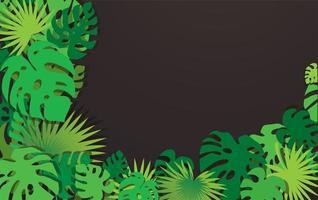 moldura de canto de folhas tropicais com copyspace