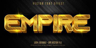 efeito de texto editável de luxo império de cor dourada vetor