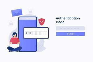 Página da web de autenticação em 2 etapas vetor