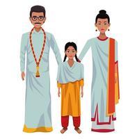personagens de desenhos animados de avatar de família indiana vetor