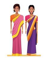 personagens de desenhos animados de avatar de mulheres indianas