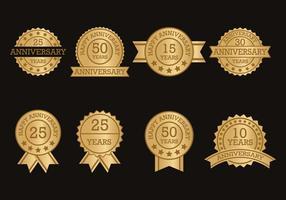 Coleção de etiquetas de aniversários vetor