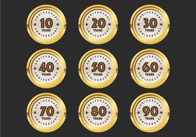 Emblemas do 10º ao 90º aniversário vetor