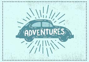 Fundo de carro vintage desenhado à mão livre vetor