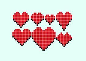 Corações Pixel do vetor