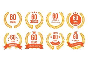 60th badges vetor