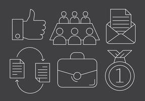 Ícones de negócios e trabalho em equipe vetor