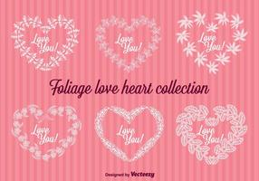 Emblemas de corações de corações florais vetor