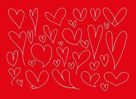 Conjunto de vetores de corações de Doodle