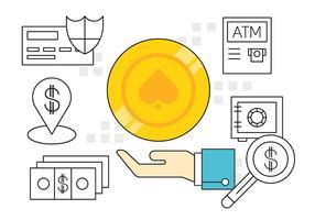 Ícones financeiros simples