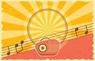 fundo de rádio de música vintage e retro vetor