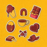 conjunto de adesivos de chocolate vetor