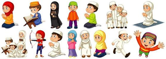 conjunto de diferentes pessoas muçulmanas vetor