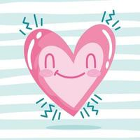 amo desenho romântico de coração feliz