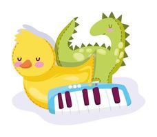 desenho animado de dinossauro, pato e piano vetor