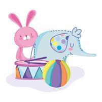 elefante, coelho, bola e tambor