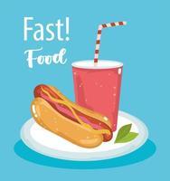fast food, cachorro-quente e refrigerante vetor