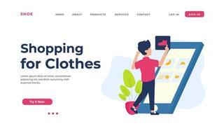 página de destino de compras de roupas vetor