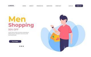 página de destino de compras masculinas