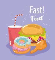 fast food, hambúrguer, donuts, frango e refrigerante