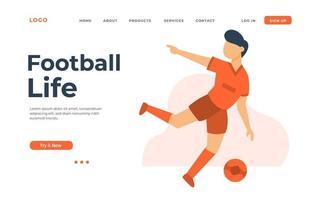 página inicial do homem jogando futebol