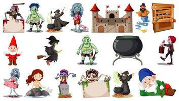 personagens de desenhos animados de fantasia e tema de fantasia isolados no fundo branco vetor