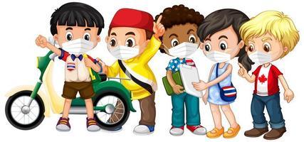 crianças de múltiplas culturas usando máscara vetor