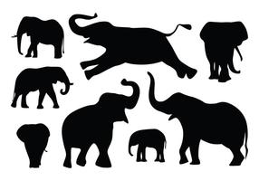 Silhueta do elefante Vectors