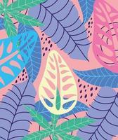 folhas tropicais coloridas e fundo de folhagem vetor