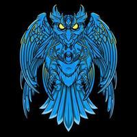 coruja mecha em azul vetor