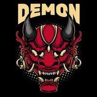 design de mascote de máscara de demônio vetor
