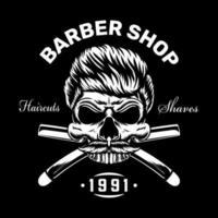 design de roupas de barbearia vintage com caveira vetor