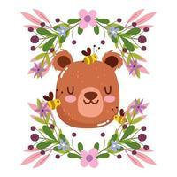 cabeça de urso fofa com decoração de flores e folhagem