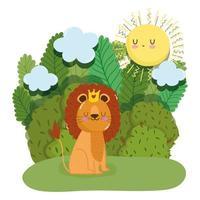 Rei leão fofo com coroa na natureza da floresta