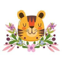 Cabeça de tigre fofa com decoração de flores e folhagem