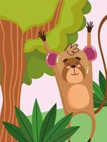 macaco fofo pendurado em um galho de árvore