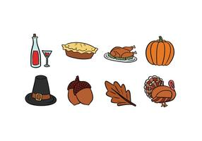 Ícones de Ação de Graças Hand-Drawn vetor