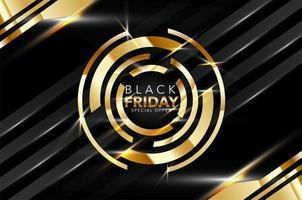 banner de venda de sexta-feira preto e dourado brilhante vetor