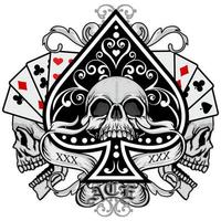 caveiras com cartas de baralho e pá decorativa