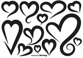 Vetor Ícones dos corações Set