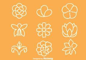 Conjuntos de flores vetor linha