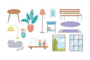 conjunto de ícones de casa e decoração vetor