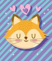 adorável carinha de raposa com corações e listras vetor
