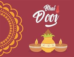 feliz bhai dooj, cultura do festival de celebração da família indiana vetor