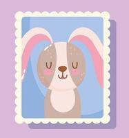 desenho de coelho fofo em selo postal