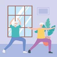 idosos se exercitando dentro de casa