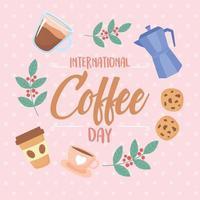 banner de celebração do dia internacional do café vetor