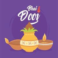feliz bhai dooj. cartão de celebração de cerimônia de família indiana vetor