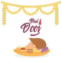 feliz bhai dooj. celebração indiana, comida e flores vetor