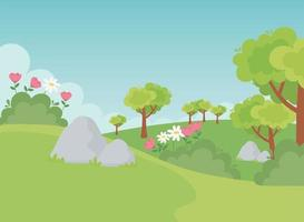 paisagem, pedras, árvores, flores e natureza do campo